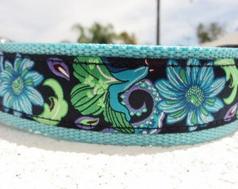 "Sale Large Girl Dog Collar 1.5"" width Quick Release buckle or Martingale collar Blue Passion - see 1"" listing"