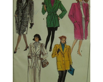80s Straight Coat Pattern, 3/4 Length Jacket, Notched Collar, Patch Pockets,Sleeve Tabs, Tie Belt,  Simplicity No. 8872 UNCUT Size 12
