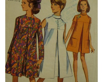 "60s Tent Dress Pattern, Front Pleat, Yoke, Stand-up Collar, Sleeveless, Short/Long Sleeves, Simplicity No. 7356 Size 13 (Bust 33.5"" 85cm)"