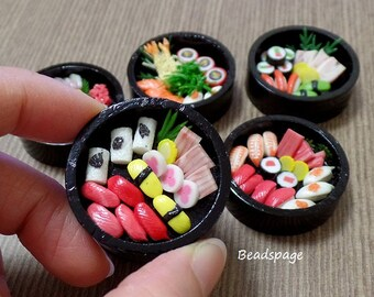 Miniature Food - Japanese Sushi Sashimi Obento Party Doll Fake food for 1:6 Scale Barbie Blythe, DIY Craft Food Jewelry Decoden