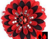 Harley Quinn Red and Black Penny Blossom Rhinestone Flower Barrette