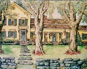 Custom House Portraits /  8 x 10  / Pen&Ink and Watercolor  Hand-painted Original portrait of your home,Mothers Day,Holiday