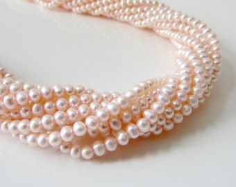 Pale PInk Pearls, Freshwater Pearls, Little Pearls, Small Pearls, Pink Seed Pearls, Genuine Pearls, Potato Pearls 3.5mm - 4mm-Full Strand