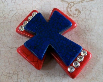 Large Stacked Red Stone Cross with Cobalt Blue Stone Cross and Bling