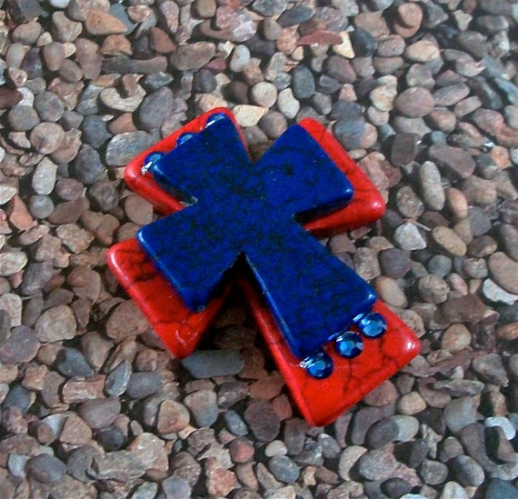 Red Blue Stone : Large stacked red stone cross with cobalt blue