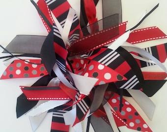Red, Black, Gray, and White Gymnastics / Sports Style Ribbon Ponytail Streamer