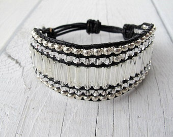 Bohemian Wristband,  Beaded Cuff, Vintage Mercury Glass, Crystal Clear, Black Leather, Friendship Bracelet, 40s Glam, Statement Jewelry