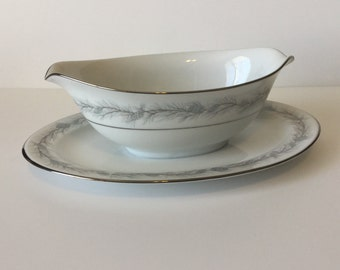 Vintage Style House Fine China Duchess Pattern Gravy Boat Made in Japan