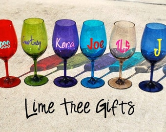 SALE Plastic Personalized Wine Glass - Assorted Colors
