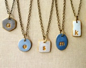 Blue Bridesmaids Necklaces - Muted Blue and Slate Mismatched bridesmaids necklaces - Set of 6 - Geometric necklace