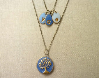 Blue Tree and Letter charms Necklace, Initial necklace for Mom, Layered, Color Monogram, 3 letters necklace, Tree of Life, Family Tree