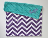 CHOOSE YOUR COLORS Personalized Chevron Double Minky Blanket or Lovey