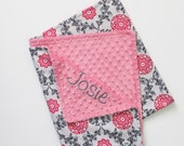 PERSONALIZED Baby Girl Blanket in Pink and Gray - Medallions