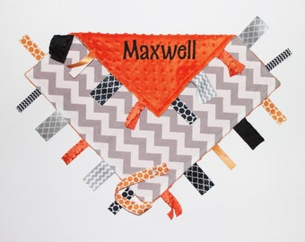 PERSONALIZED Baby Gray Chevron Ribbon Tag Sensory Blanket with Pacifier Clip Large 16 x 16 Orange Minky
