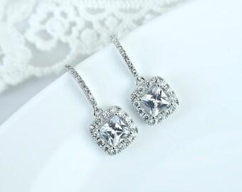 Bridal Earrings, Vintage Style Bridal Earrings, Wedding Cubic Zirconia Earrings, Princess Cut Square Bridal Cubic Zirconia Drop Earrings