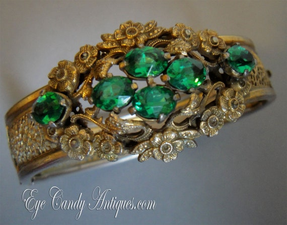 Vintage Victorian Bangle Bracelet in Emerald Green Rhinestone and Russian Gold tone filigree with tiny marcasite stones antique jewelry gift