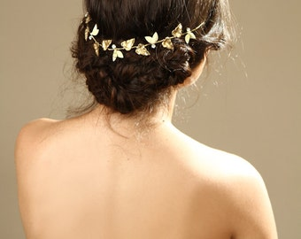 Leaf Hair Wreath/ gold grecian crown/ bridal hair jewelry/ wedding hair accessory/  Gold Leaf Bridal Headband / Gold Tiara