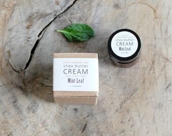 MINI - Mint Leaf Shea Butter Cream - with pure essential oils + organic shea butter - paraben free - 1.2 ounces