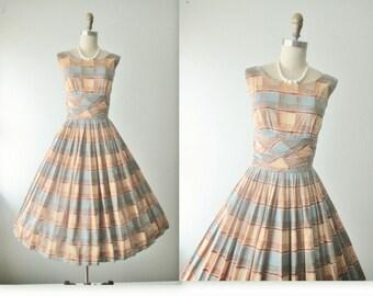 50's Plaid Dress // Vintage 1950's Plaid Cotton Garden Party Summer Day Dress xs