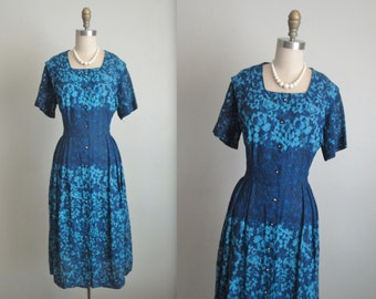 40's Floral Dress // Vintage 1940's Unworn Floral Print Cocktail Party Dress NOS Unworn L