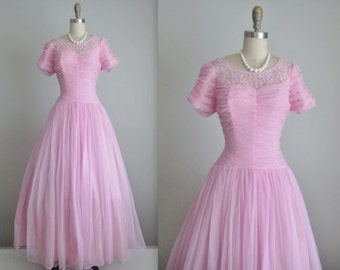50's Orchid Chiffon Dress // Vintage 1950's Ruched Orchid Chiffon Lace Prom Wedding Party Dress Gown M