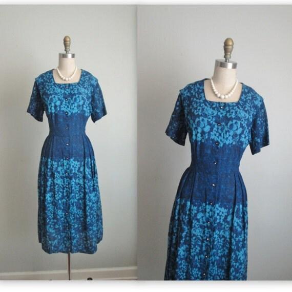 40's Floral Dress // Vintage 1940's Unworn Floral Print Cocktail Party Dress NOS Unworn L