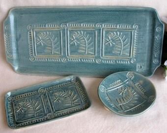 Dragonfly & Fern Platter Gift Set in Antique Blue Glaze  #fern  #dragonfly  #wedding gift  #dish set