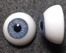 22mm Karl Glass Half Round Doll Eyes with a Human Iris and Flat Back- One Pair