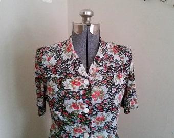 Vintage Floral Dress 1970's Black Floral Button Down Dress