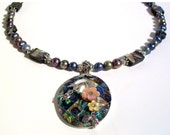 Abalone, Paua Shell & Pearls, Fresh Water Pearl Necklace Set, Statement Necklace, One of a Kind