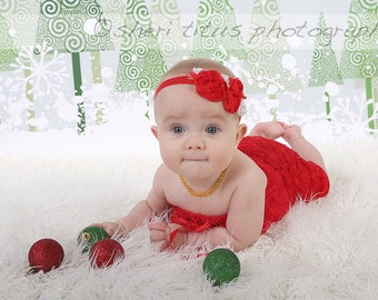 Red Flower Baby Headband - Red Headband - Red and Silver - Christmas Headband - Baby Christmas Headband - Newborn Christmas Headband