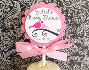 12 baby bird cupcake toppers, baby shower cupcake toppers, pink baby girl cupcake toppers, set of 12