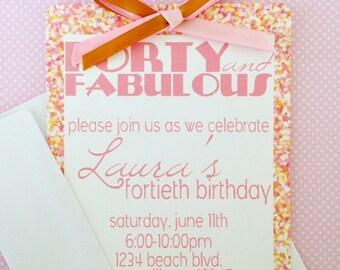 12 fabulous at 40 birthday invitations, printed 40th birthday invitations, pink glitter invites, forty and fabulous birthday