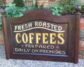Vintage Wood Coffee Sign