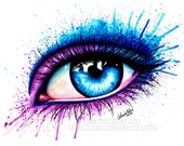 Signed Art Print Colorful Eye Painting Pop Art Makeup 5x7, 8x10, or Apprx 11x14 - Pretty Fashion Edgy Pink and Blue