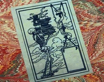 Skeleton Bookplate: Set of 24 Ex Libris Book Plates