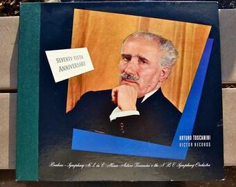 MId 1940's recording of Brahms Symphony #1 in C Minor. NBC Orchestra. Arturo Toscanini directing. 75th Anniversary. Five 78rpm records.