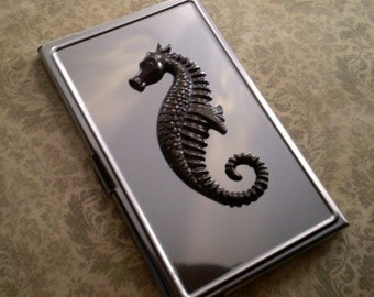Business card case/holder, Silver Aluminum,  Choice of Embellishment, Gift Ideas, Gift for Him or Her