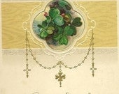 John Winsch Vintage New Years Postcard Four Leaf Clovers and Verse 1915
