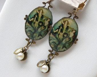 Mermaid Earrings, Art Nouveau Mermaids, Mermaid and Sea Shell Pearl Earrings