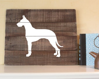 Great Dane, Silhouette, Reclaimed Wood, Handmade Sign, German Mastiff, Great Dane Art, Rustic Wall Art, Great Dane Plaque, Wooden Sign, Dane