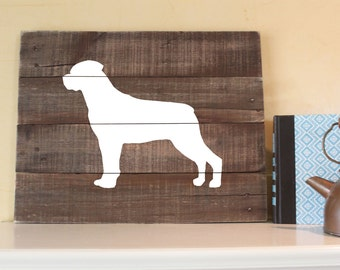 Rottweiler Silhouette, Reclaimed Wood Sign, Rottweiler Wood Sign, Rottweiler Artwork, Rustic Rottweiler Sign, Wooden Rottweiler, Gift, Art