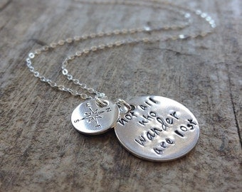 Wanderlust Necklace, Compass Necklace, Traveler Necklace, Sterling Silver Necklace, Gypset, Not All Who Wander Are Lost , Christmas Gift