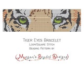 Loom Beading Pattern Tiger Eyes Bracelet for Loom or Square Stitch