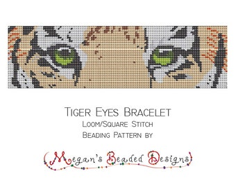 Loom Beading Pattern Tiger Eyes Bracelet for Loom or Square Stitch