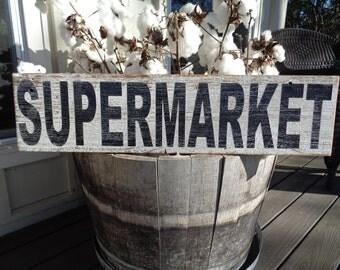 Supermarket Sign-75x10, Extra Long Supermarket Sign, Fixer Upper Inspired