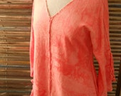 Raglan Tunic Conch Pink Bright Coral Hand Dyed Hemp and Organic Cotton Women's Size S/M