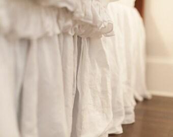 Ruffled Linen King Size Bed Skirt/Dust Ruffle