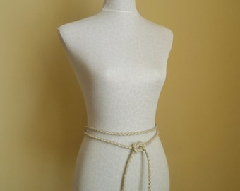 cream vanilla leather belt, necklace braided by Tuscada. Ready to ship.
