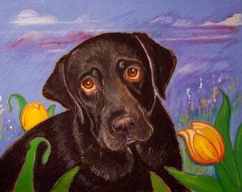 Black Lab art painting pet portrait ORIGINAL dog art oil pastel yellow tulips